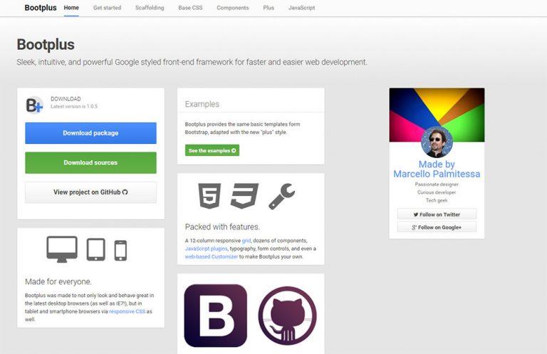Создание макетов начальной загрузки в стиле Google с помощью Bootplus Framework