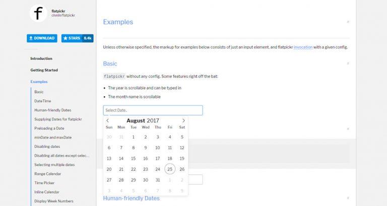 Создать минималистский выбор даты и времени с помощью Flatpickr