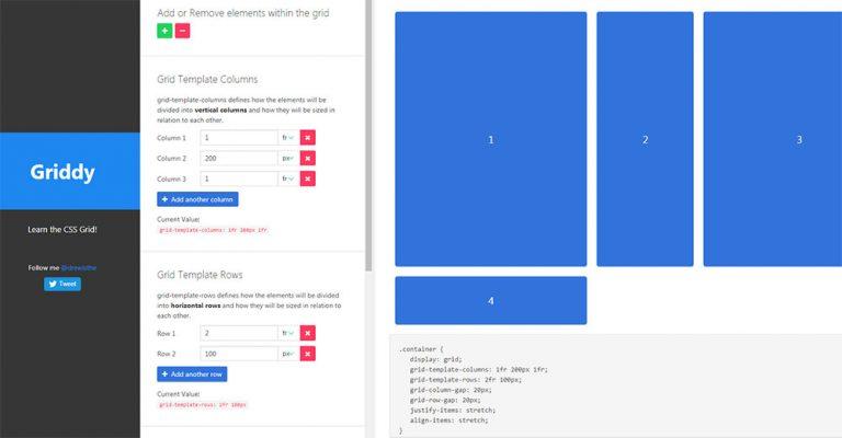Узнайте, как CSS Grid свойства работают с Griddy.io