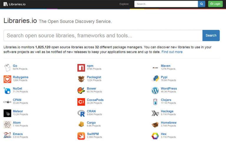 Libraries.io – поисковая система с открытым исходным кодом для разработчиков