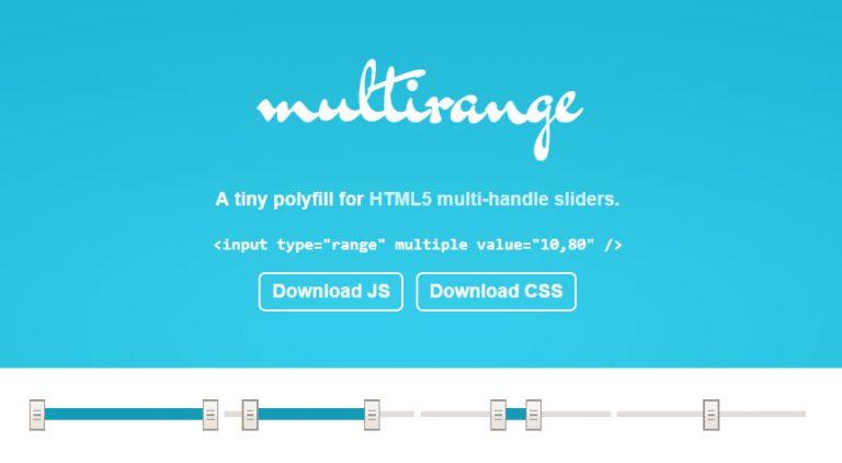 Многополосная поддержка Polyfill для слайдеров HTML5 с двумя ручками