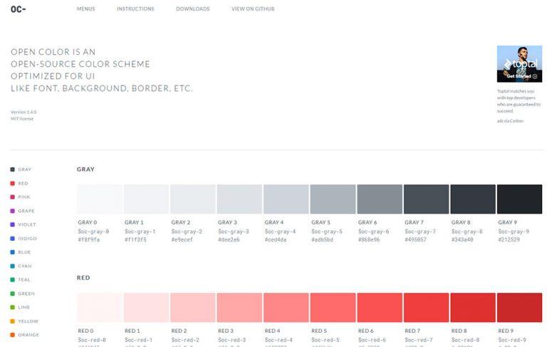 Open Color – UI-оптимизированная цветовая схема для дизайнеров