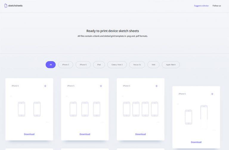Печать веб-и мобильных шаблонов пользовательского интерфейса с помощью Sketchsheets