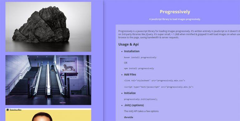 Ленивая загрузка изображений прогрессивно с «Прогрессивно»