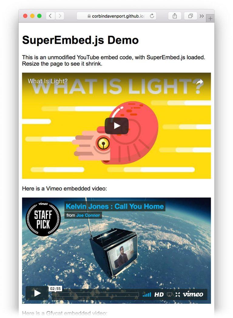 Легко встраивайте отзывчивые видео с SuperEmbed.js