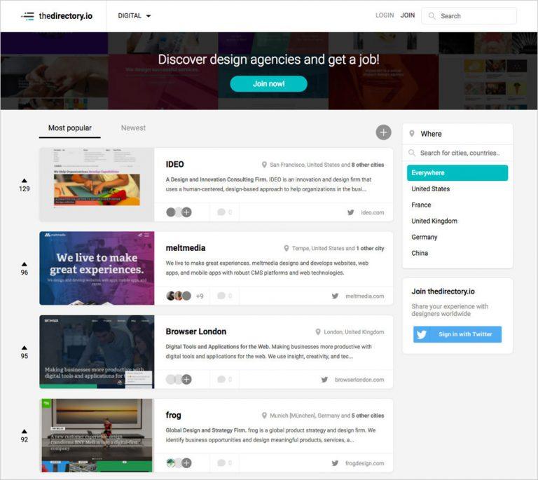 Откройте для себя лучшие дизайнерские агентства по всему миру с TheDirectory.io