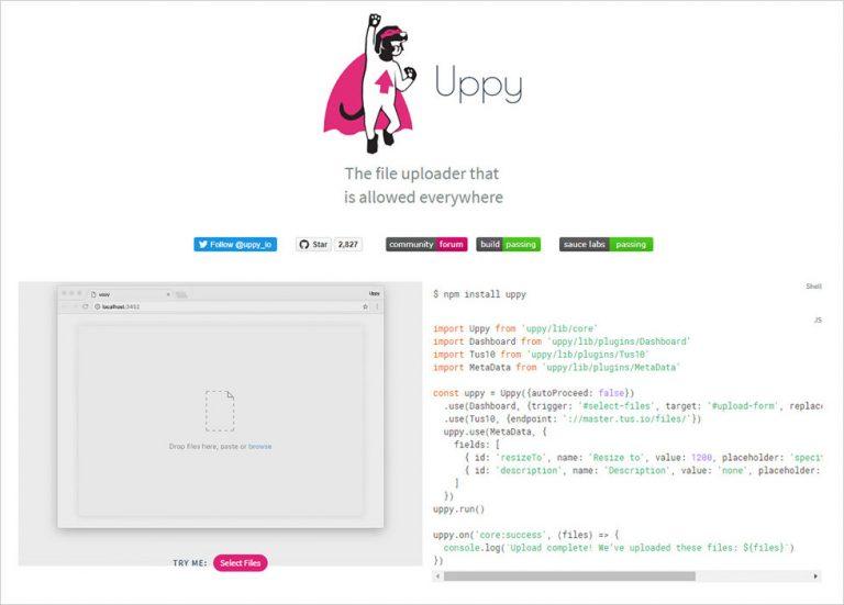 Бесплатный ES5 / ES6 JavaScript плагин для загрузки файлов – Uppy