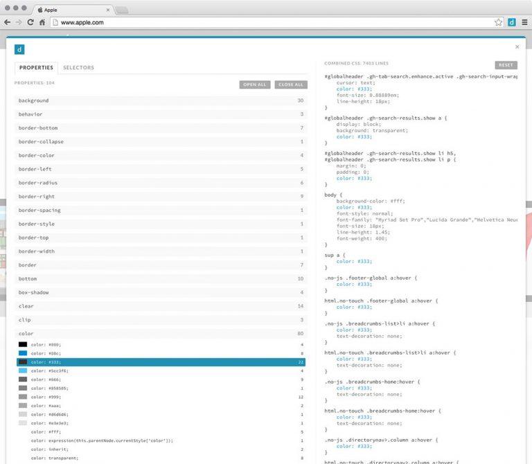 Проанализируйте коды любого сайта с расширением CSS Dig Chrome