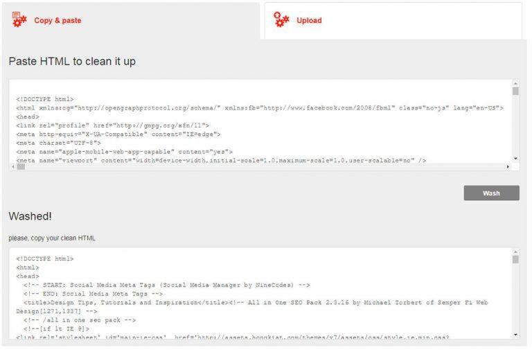 Чистые грязные HTML-коды с помощью HTML Washer