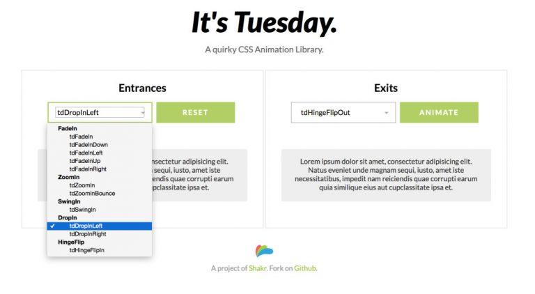 Tuesday.css – самая горячая библиотека анимации прямо сейчас