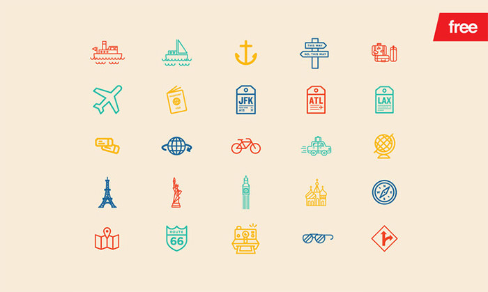 20 потрясающих бесплатных иконок для путешествий и туризма, которые вы можете скачать