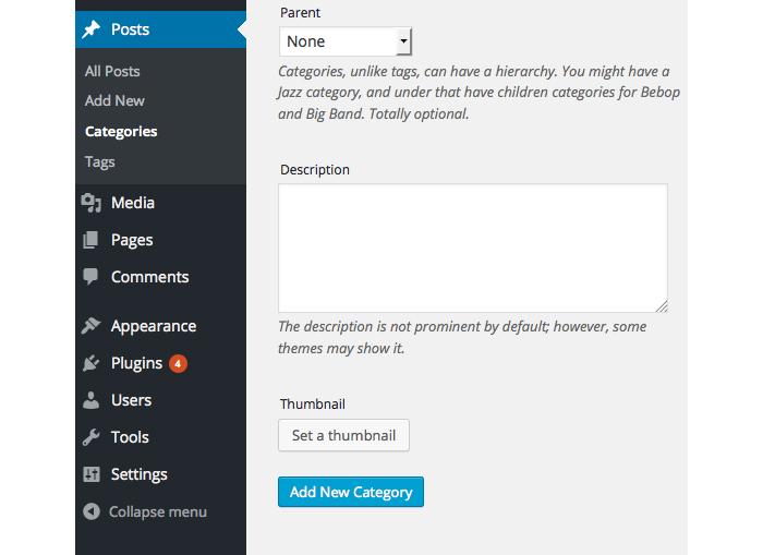 Как добавить миниатюры в категории и теги WordPress