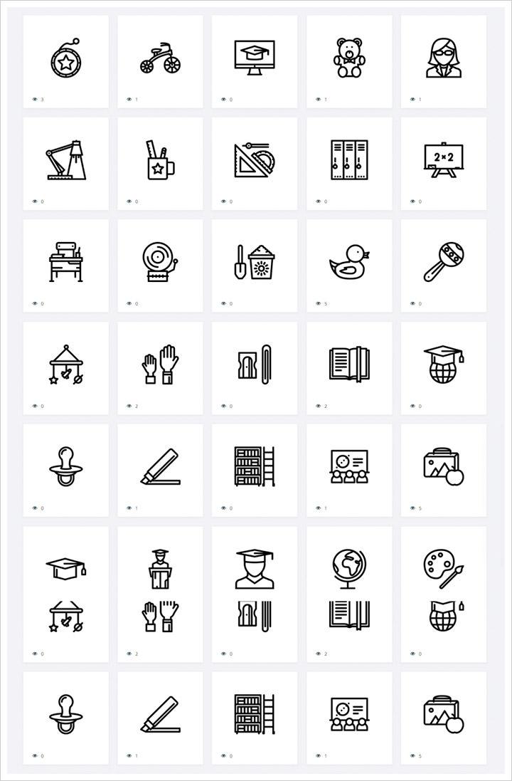 30 бесплатных наборов иконок для школы и образования для скачивания
