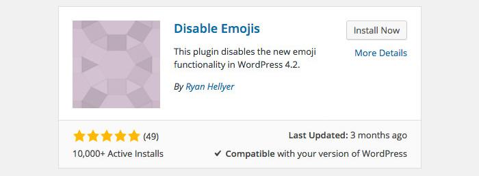 Как отключить смайлики WordPress