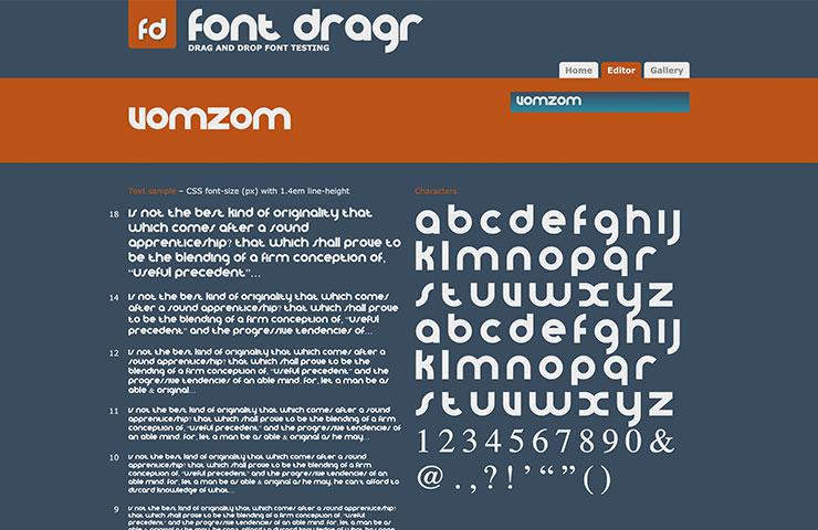 Живые тестовые шрифты в браузере легко с помощью Dragr Font