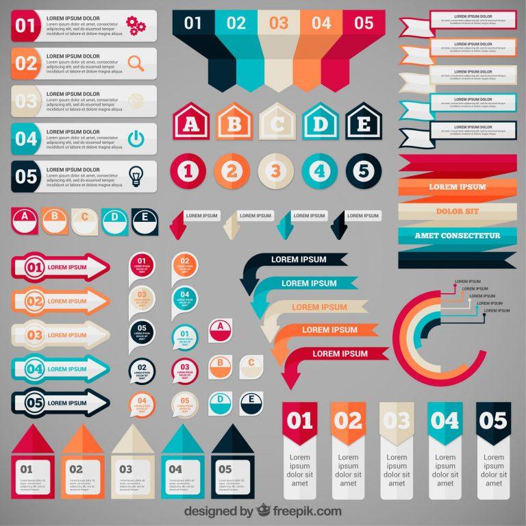 5 комплектов бесплатных инфографики баннеров векторов для скачивания