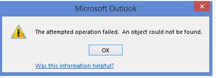 Попытка операции не удалась.  Не удалось найти объект Ошибка Outlook