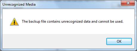 Как устранить ошибку «Файл резервной копии содержит нераспознанные данные и не может быть использован»