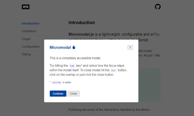 Micromodal.js – совместимый с WAI-ARIA модальный скрипт, ориентированный на доступность