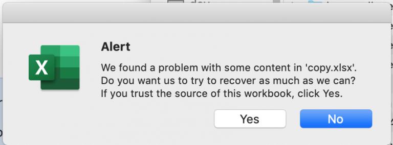 «Мы обнаружили проблему с некоторым содержимым в Excel». Устранена проблема.